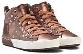 Geox Rose Gold Spot Jr Kalispera Lace and Zip Trainers