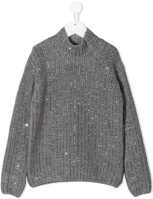 Ermanno Scervino Sequin-Embellished High Neck Sweater