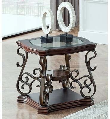 """Thumbnail for your product : World Menagerie End Table, Glass Table Top, Mdf W/marble Paper Middle Shelf, Powder Coat Finish Metal Legs. (26.3""""lx26.3""""wx24""""h"""