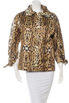 Oscar de la Renta Leopard Print Zip-Up Jacket