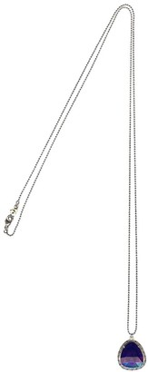 "Chan Luu Semi Precious Lapis Stone Long 31"" Silver Tone Ball Chain Pendant Necklace"
