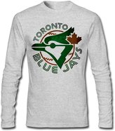 Sarah Men's Toronto Blue Jays Jays TOR Baseball Logo Long Sleeve T-shirt M HeatherGray