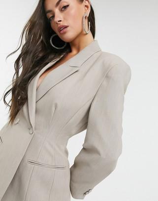 ASOS DESIGN premium moulded hip suit blazer in soft camel