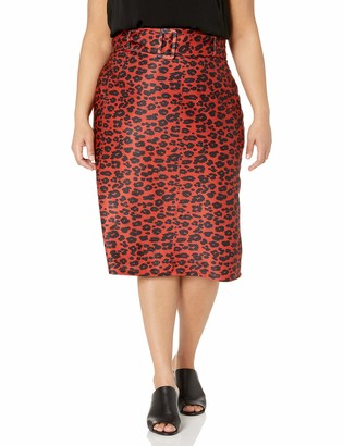 City Chic Women's Apparel Women's Plus Size Patterned Pencil Skirt with Matching Buckle Belt Detail