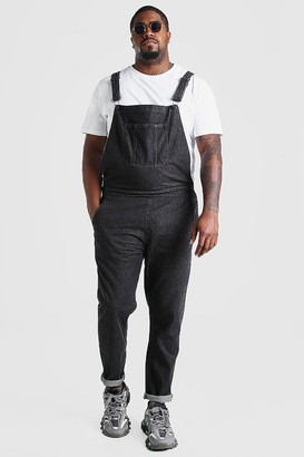 boohoo Mens Grey Big And Tall Long Denim Dungarees, Grey