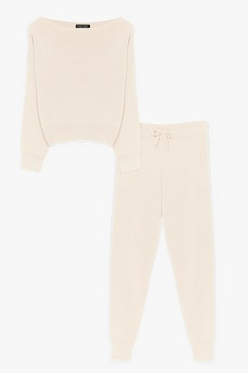Nasty Gal Womens So Easy Knitted Joggers Lounge Set - Beige - S