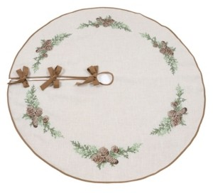 "Manor Luxe Winter Pine Cones and Branches Crewel Embroidered Tree Skirt 56"" Round"