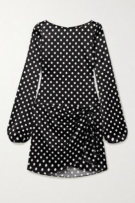 Caroline Constas Leonie Wrap-effect Polka-dot Stretch-silk Satin Mini Dress - Black