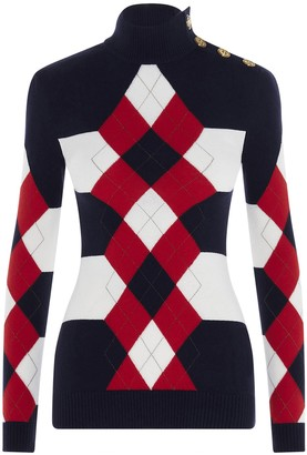 Balmain Diamond Jacquard Turtleneck Sweater