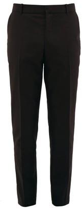 Alexander McQueen Logo-embroidered Cotton Slim-leg Trousers - Black