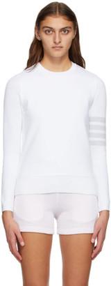 Thom Browne White Classic Loopback 4-Bar Sweatshirt