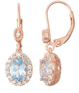 Fine Jewelry Lab-Created Aquamarine & White Sapphire Diamond Accent 14K Rose Gold Over Silver Leverback Earrings