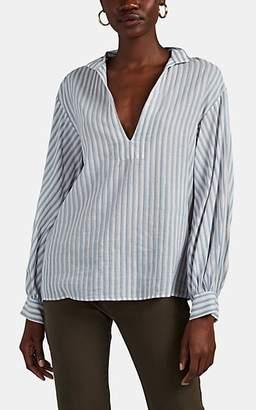 Nili Lotan Women's Joey Striped Cotton-Linen Blouse - Ivorybone