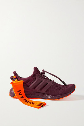 adidas Ivy Park Ultraboost Canvas, Mesh And Rubber-trimmed Primeknit Sneakers - Burgundy