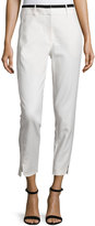 Halston Slim-Fit Cropped Pants, Linen White