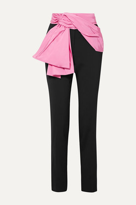 Carolina Herrera Convertible Silk-faille Trimmed Crepe Straight-leg Pants - Black