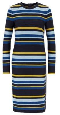BOSS Long-sleeved ottoman dress with multi-coloured stripes