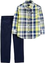 Carter'S carter's& 2-Piece Plaid Shirt and Chino Pants Set in Yellow/Blue