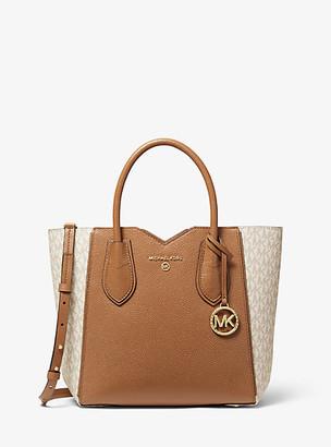 MICHAEL Michael Kors MK Mae Medium Pebbled Leather and Logo Messenger Bag - Vanilla/acorn - Michael Kors