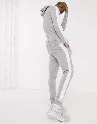 Asos DESIGN muscle tracksuit with hoodie & side stripe in grey marl