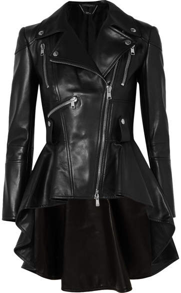 Alexander McQueen Leather Peplum Biker Jacket - Black