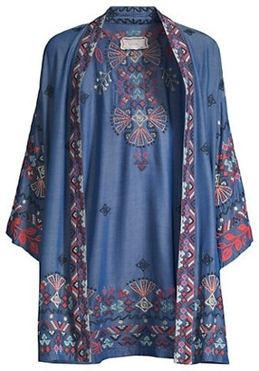 Johnny Was Mareen Embroidered-Trim Kimono Cardigan