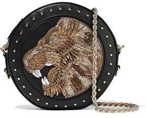 Balmain Disco Embellished Leather Shoulder Bag
