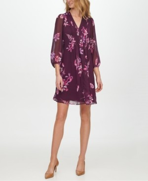 Calvin Klein Floral-Print Pleat-Detail Shift Dress