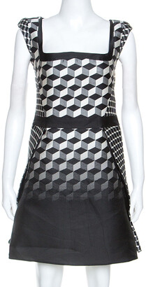 Antonio Berardi Monochrome Geometric Patterned Jacquard Silk Mini Dress M