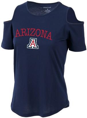 Women's Navy Arizona Wildcats Sueded Jersey Cold Shoulder T-Shirt
