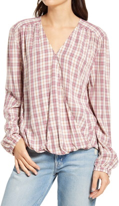 Treasure & Bond Shirred Wrap Top