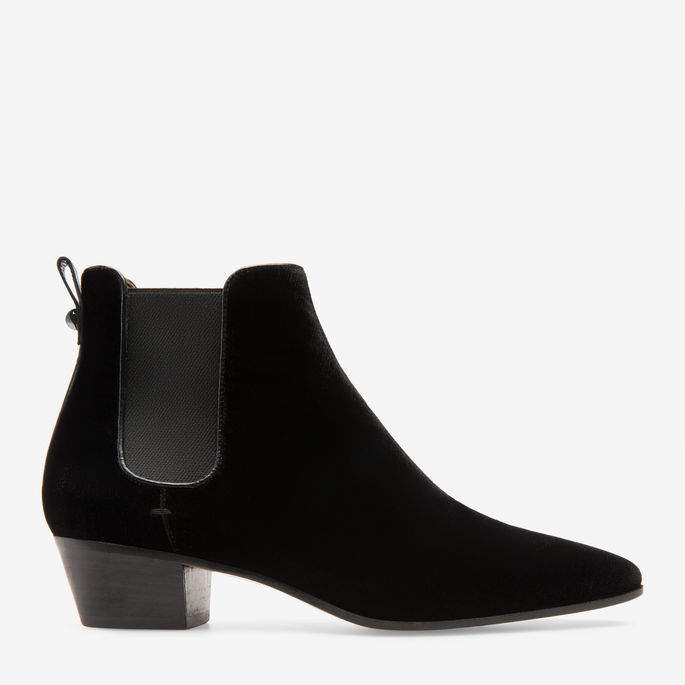 Bally Theresia Black, Women's silk blend ankle boots with 35mm heel in black
