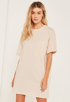 Missguided Nude Pocket Front T-Shirt Dress