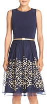 Chetta B Belted Embroidered Mesh Fit & Flare Dress