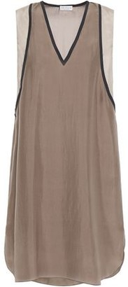 Brunello Cucinelli Bead-embellished Silk Crepe De Chine Mini Dress