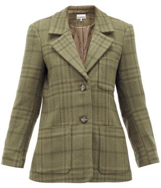 Ganni Checked Wool-blend Blazer - Womens - Khaki