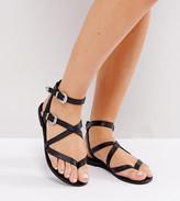 Asos FIASCO Wide Fit Western Buckle Flat Sandals