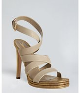 Yves Saint Laurent beige and gold leather 'Montaig' crisscross sandals