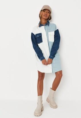 Missguided Light Blue Contrast Panel Denim Shirt Dress