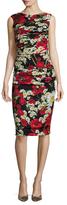 Dolce & Gabbana Silk Ruched Printed Sheath Dress