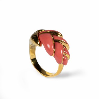 Lladro Heliconia Metal Ring. Coral. Adjustable. Porcelain Jewelry.