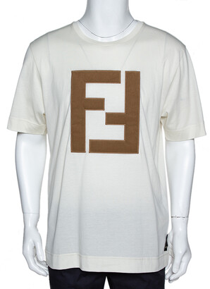 Fendi Off White Cotton Knit Appliqued Logo Crew Neck T-Shirt M