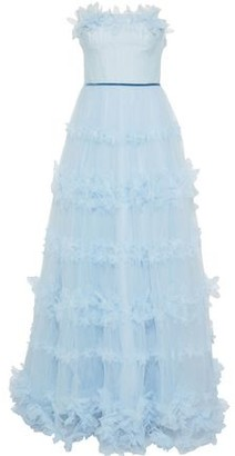 Marchesa Strapless Pleated Floral-appliqued Tulle Gown