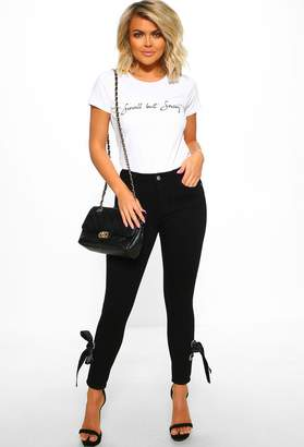 Pink Boutique Bow Baby Black Bow Detail Skinny Jeans