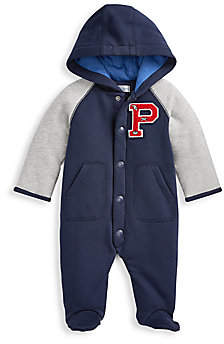 Ralph Lauren Baby Boy's Logo-Embroidered Two-Tone Fleece Footie