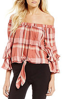 Takara Tie-Front Tiered Sleeve Plaid Top