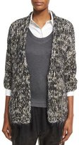 Brunello Cucinelli Crocheted Elbow-Sleeve Cardigan, Black/Yellow