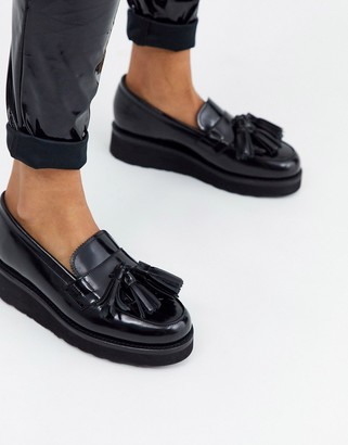 Grenson Clara flatform loafer in black leather