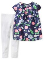 Carter's Size 18M 2-Piece Floral Poplin Top and Legging Set in Navy/White