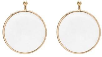 18kt Rose Gold Pin Quartz Mini Disc Earring Charm